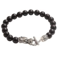 Handmade Men's Sterling Silver 'Dragon Glory' Onyx Bracelet (Indonesia)