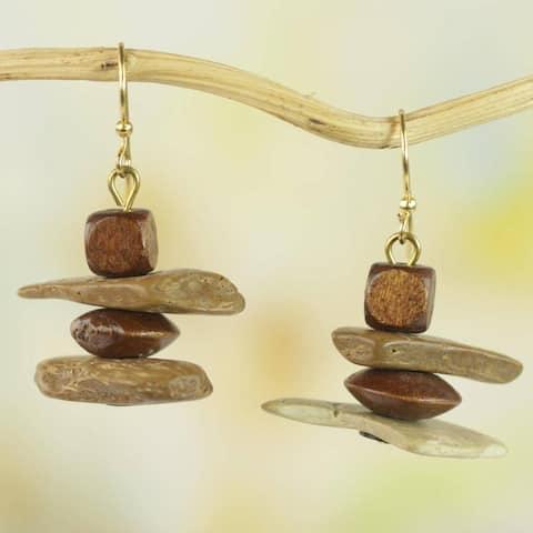 Handmade Sese Wood Coconut Shell 'African Monolith' Earrings (Ghana)