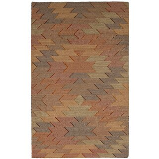 eCarpetGallery Flat-weave Ankara Kilim Grey, Light Red Wool Kilim (5'0 x 8'1)
