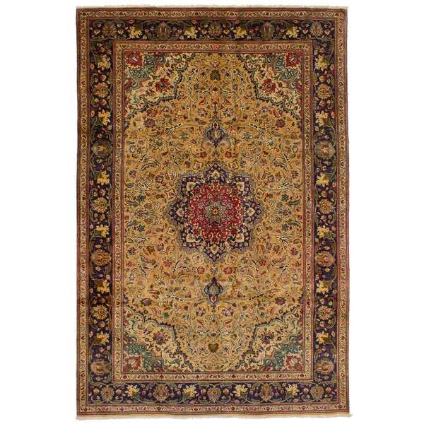 eCarpetGallery Hand-knotted Tabriz Light Brown Wool Rug (6'5 x 9'11)