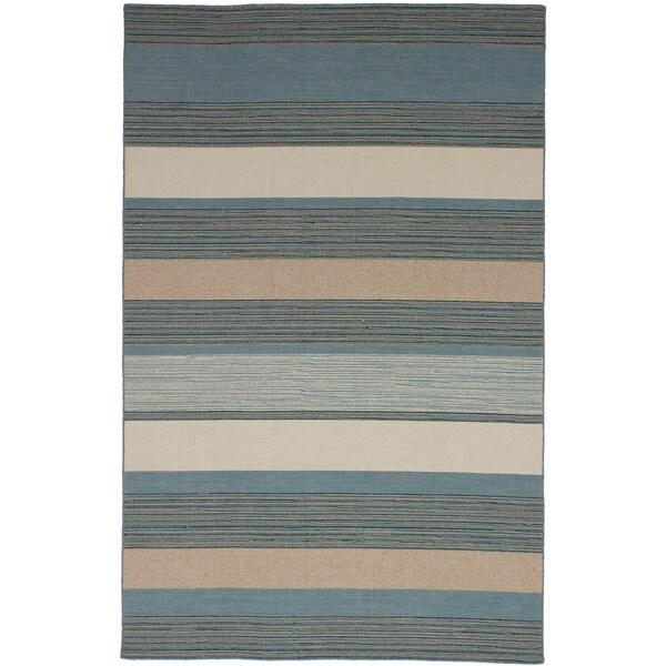 eCarpetGallery Flat-weave Manhattan Turquoise Wool Kilim (5'0 x 7'10)