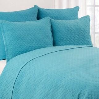 Basket Weave Azul Quilt Set