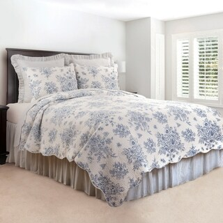 Sutton Blue Vintage Rose Cotton Quilt