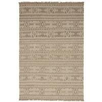 eCarpetGallery  Flat-weave Izmir Kilim Light Khaki Wool Kilim (5'2 x 7'11)