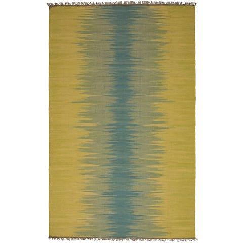 Flat-weave Izmir Brown, Tan Wool Kilim