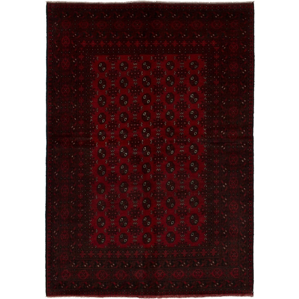 eCarpetGallery Hand-knotted Khal Mohammadi Dark Red Wool Rug (5'5 x 7'9)