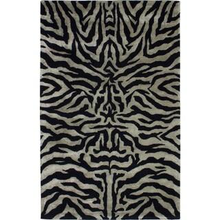 eCarpetGallery Hand Tufted Trek Black, Light Khaki Silk, Wool Rug - 5'0 x 8'0