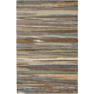 eCarpetGallery Hand Tufted Abstract Art Brown, Khaki Silk, Wool Rug - 5'0 x 8'0