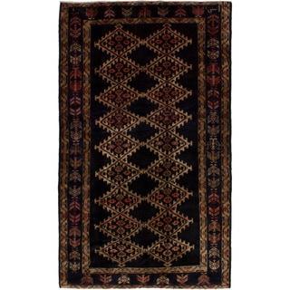 eCarpetGallery  Hand-knotted Nahavand Dark Navy Wool Rug (4'2 x 6'11)