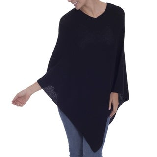 Handmade Alpaca 'Enchanted Evening in Black' Poncho (Peru)