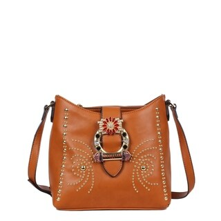 Nicole Lee Brown Studded Buckled Crossbody Bag