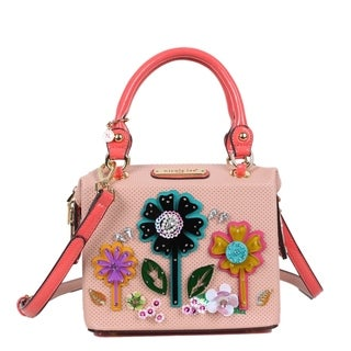 Nicole Lee Pink Acrylic Pop Flowers Handbag