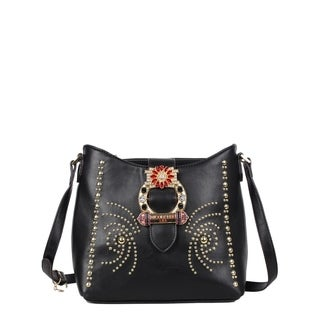 Nicole Lee Black Studded Buckled Crossbody Bag