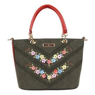 Nicole Lee Olive Suede Flower embellished Tote bag
