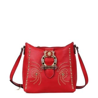 Nicole Lee Red Studded Buckled Crossbody Bag