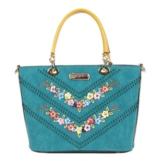Nicole Lee Blue Suede Flower embellished Tote bag