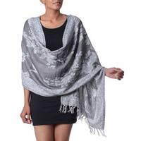 Handmade Wool Silk Blend 'Floral Grandeur' Shawl (India)