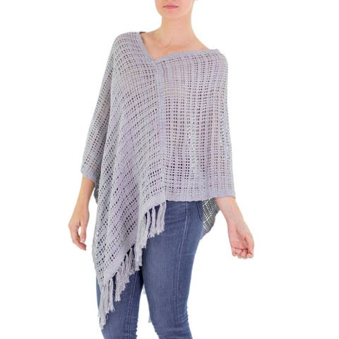 Handmade Cotton 'Grey Lattice' Poncho (Guatemala)
