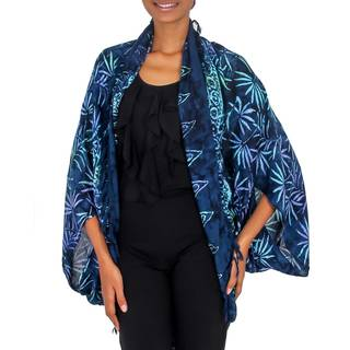 Handmade Rayon 'Denpasar Lady in Navy' Jacket (Indonesia)
