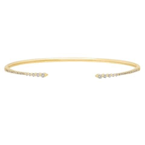 10K yellow gold diamond bangle by Anika and August - White