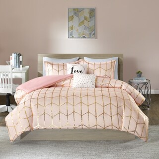 Intelligent Design Khloe Blush/ Gold Metallic Printed 5-piece Duvet Cover Set