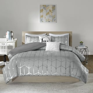 Intelligent Design Khloe Grey Silver Metallic Printed 5 Piece Duvet Cover Set