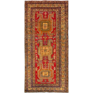 eCarpetGallery Hand-knotted Ardabil Red Wool Rug (4'7 x 9'7)