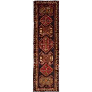 eCarpetGallery Hand-knotted Meshkin Black, Red Wool Rug (3'7 x 13'1)