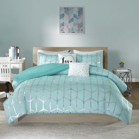 Intelligent Design Khloe Aqua/ Silver Metallic Printed 5-piece Duvet Cover Set