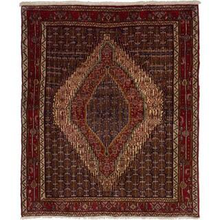 eCarpetGallery Hand-knotted Senneh Dark Navy, Red Wool Rug (4'0 x 4'9)
