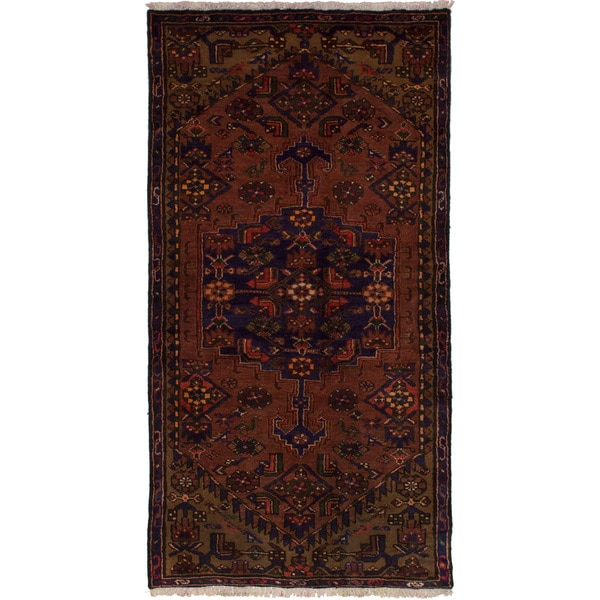 eCarpetGallery Hand-knotted Hamadan Brown Wool Rug (2'10 x 5'7)