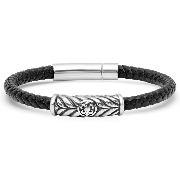 d0ee044b779be Shop Minoxia Men's Black Leather Braided Bracelet - Free Shipping ...