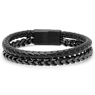 Minoxia Men's Double Layered Black Leather and Stainless Steel Chain Link Bracelet