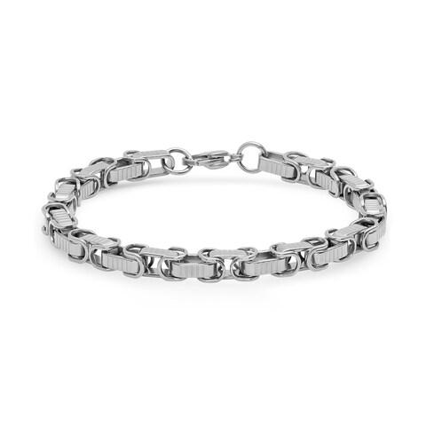Steeltime Men's Stainless Steel Byzantine Chain Bracelet in 3 Colors