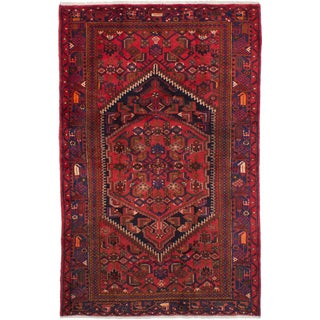 eCarpetGallery Hand-knotted Hamadan Red Wool Rug (4'6 x 6'11)