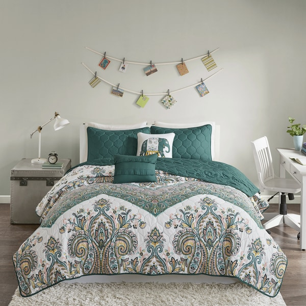 Intelligent Design Layne Teal Printed 5-piece Coverlet Set