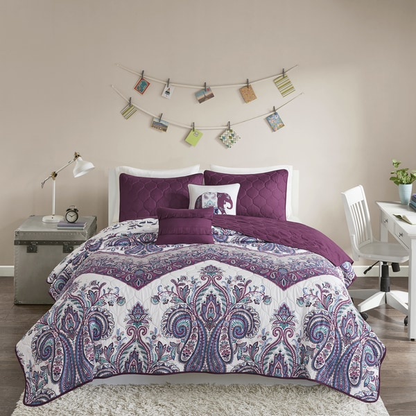 Intelligent Design Layne Purple Printed 5-piece Coverlet Set