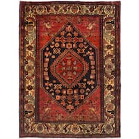 eCarpetGallery  Hand-knotted Hamadan Red Wool Rug (5'3 x 7'2)
