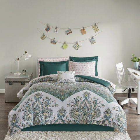 Intelligent Design Layne Teal Printed 9-piece Bed in a Bag Set