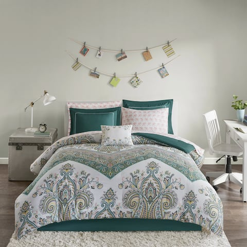 Intelligent Design Layne Teal Printed 9-piece Bed in a Bag Set