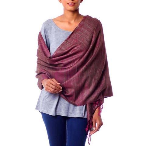 Handmade Silk 'Holiday Plum' Shawl (India)