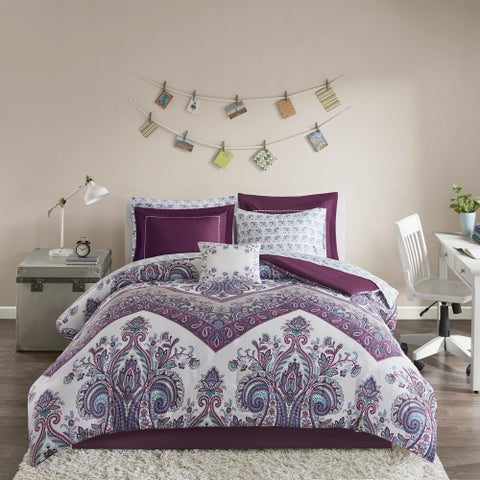 Intelligent Design Layne Purple Printed 9-piece Bed in a Bag Set