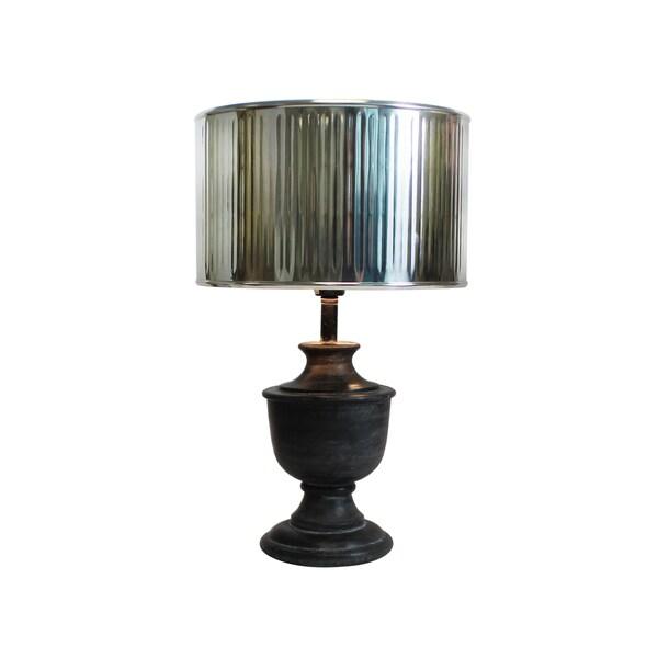 Urban Designs 20-Inch Round Wood Dark Grey Wash And Drum Silver Metal Table Lamp