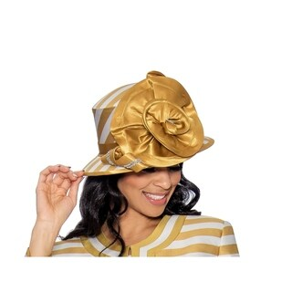 Giovanna Collection Women's Striped Hat with Satin Flower Trim