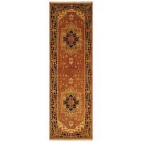 Handmade Herat Oriental Indo Hand-Knotted Serapi Wool Runner (2'7 x 8'1) - 2'7 x 8'1 (India)
