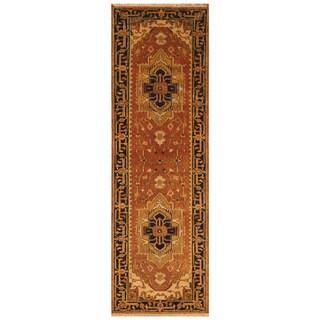Handmade Herat Oriental Indo Hand-Knotted Serapi Wool Runner (India) - 2'7 x 8'1
