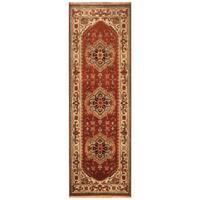 Handmade Herat Oriental Indo Hand-Knotted Serapi Wool Runner (2'7 x 8'1) - 2'7 x 8'1