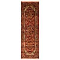 Handmade Herat Oriental Indo Hand-Knotted Serapi Wool Runner (2'6 x 8') (India)