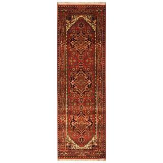 Handmade Herat Oriental Indo Hand-Knotted Serapi Wool Runner (India) - 2'6 x 8'