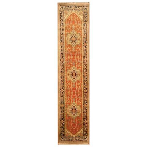 Handmade Herat Oriental Indo Hand-Knotted Serapi Wool Runner (India) - 2'5 x 10'6